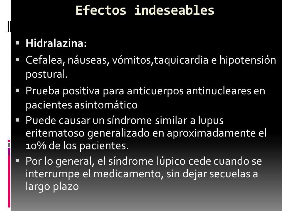 Efectos indeseables Hidralazina: