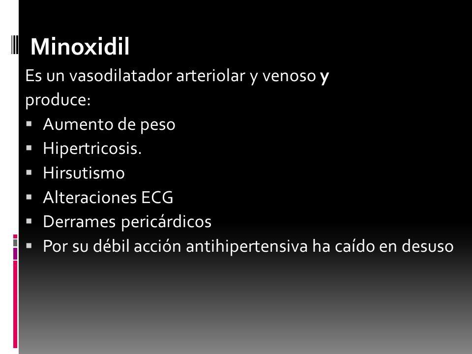 Minoxidil Es un vasodilatador arteriolar y venoso y produce: