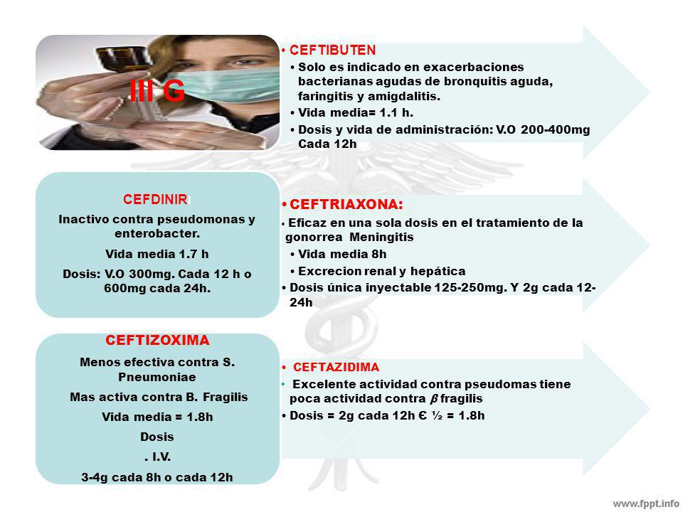 Menos efectiva contra S. Pneumoniae Mas activa contra B. Fragilis