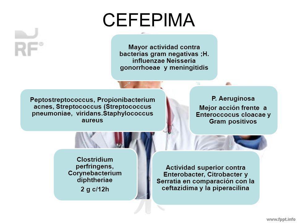CEFEPIMA Mayor actividad contra bacterias gram negativas ;H. influenzae Neisseria gonorrhoeae y meningitidis.