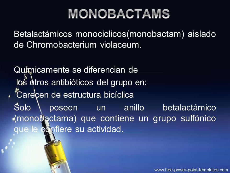 MONOBACTAMS Betalactámicos monociclicos(monobactam) aislado de Chromobacterium violaceum. Químicamente se diferencian de.