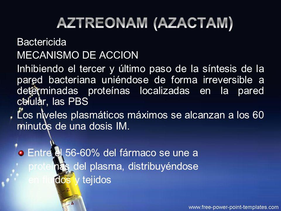 AZTREONAM (AZACTAM) Bactericida MECANISMO DE ACCION