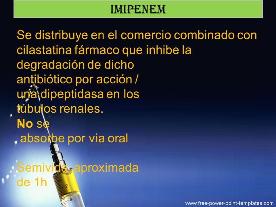 IMIPENEM Se distribuye en el comercio combinado con cilastatina fármaco que inhibe la degradación de dicho.