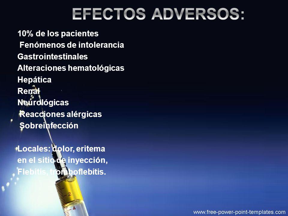 EFECTOS ADVERSOS: 10% de los pacientes Fenómenos de intolerancia