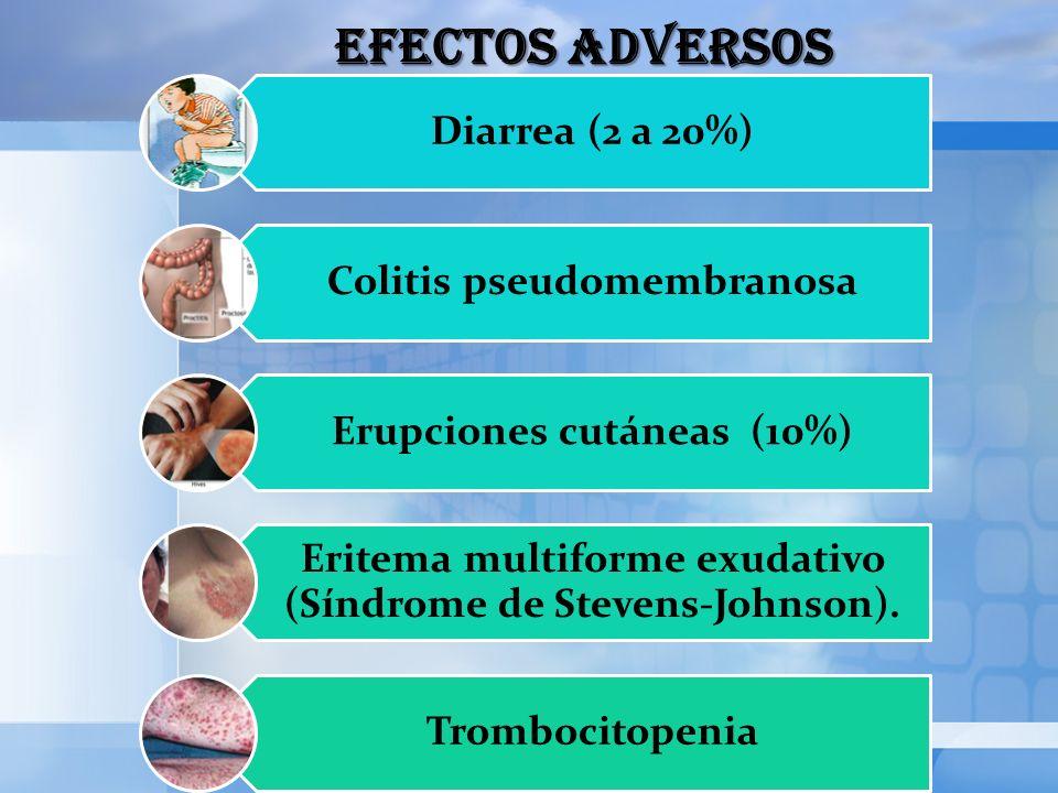 EFECTOS ADVERSOS Diarrea (2 a 20%) Colitis pseudomembranosa