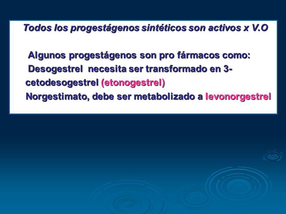 Todos los progestágenos sintéticos son activos x V.O