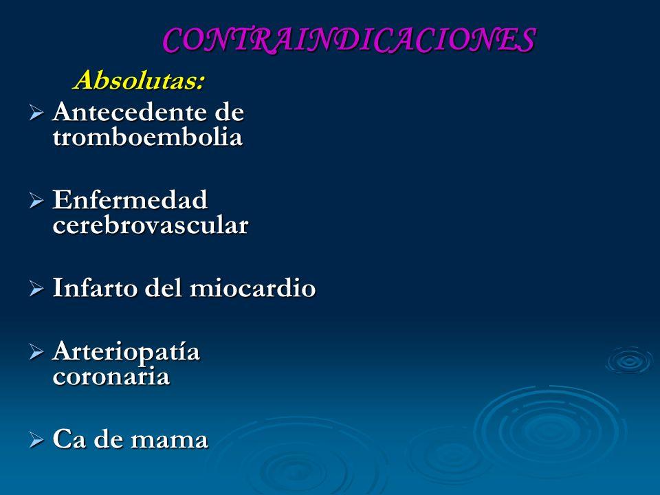 CONTRAINDICACIONES Antecedente de tromboembolia