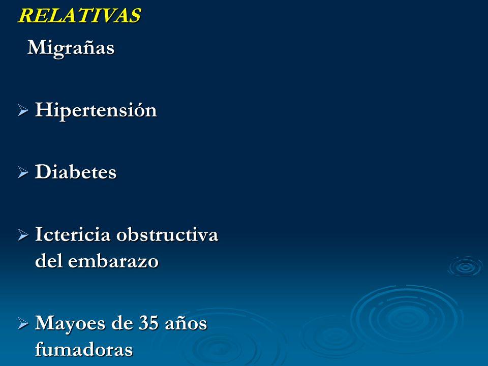 RELATIVAS Migrañas. Hipertensión. Diabetes. Ictericia obstructiva del embarazo.