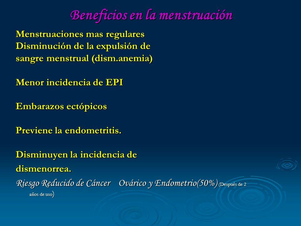 Beneficios en la menstruación