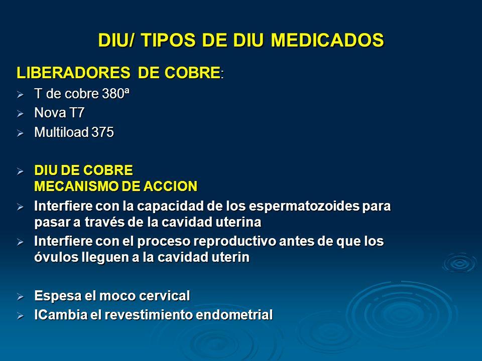 DIU/ TIPOS DE DIU MEDICADOS
