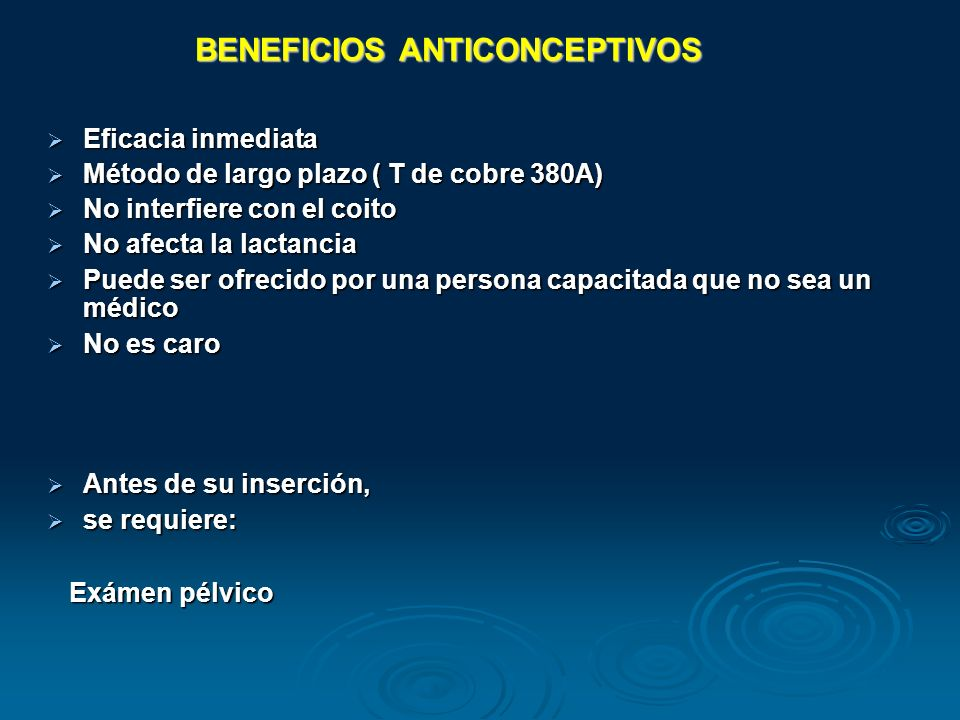 BENEFICIOS ANTICONCEPTIVOS