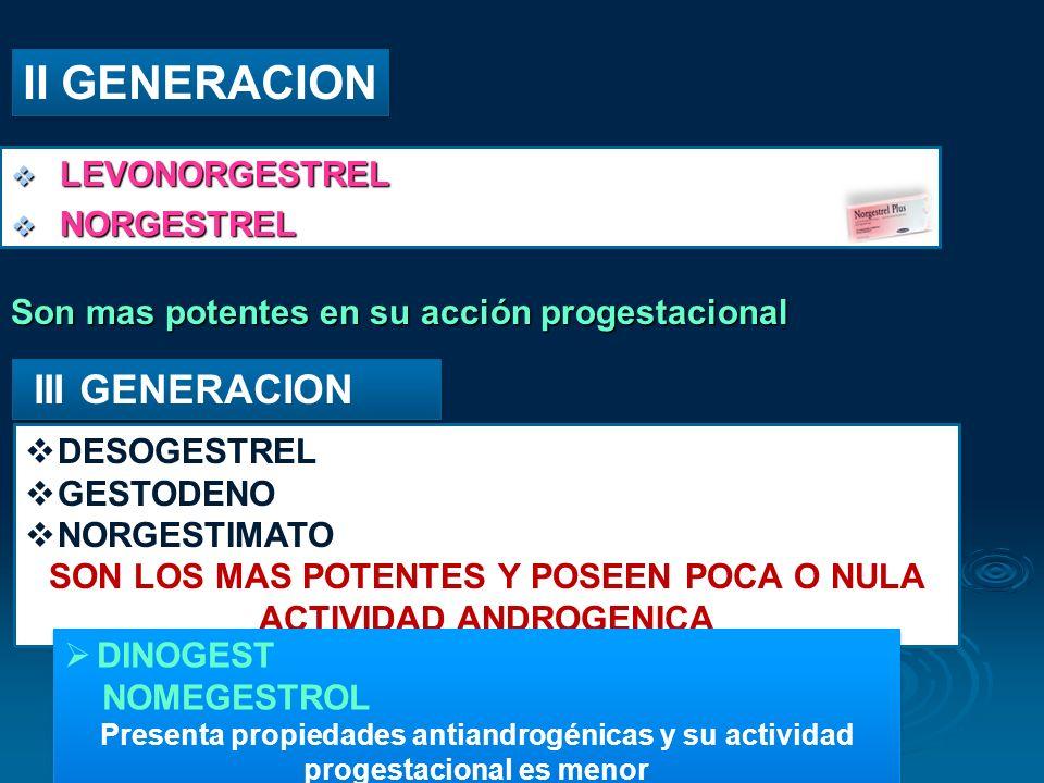 SON LOS MAS POTENTES Y POSEEN POCA O NULA ACTIVIDAD ANDROGENICA