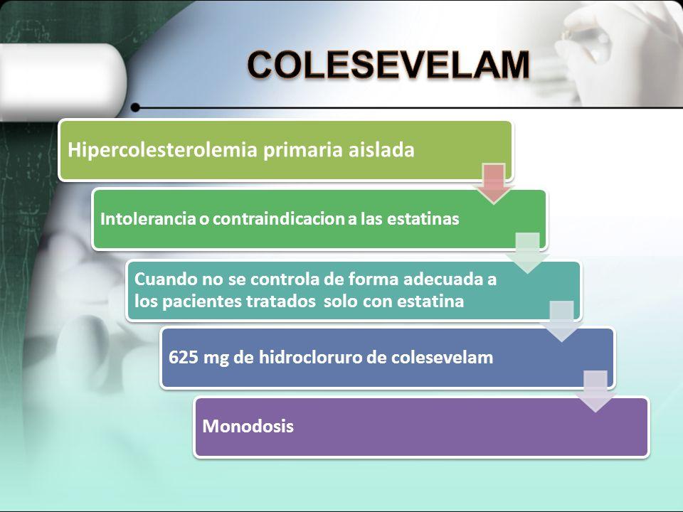 COLESEVELAM Hipercolesterolemia primaria aislada
