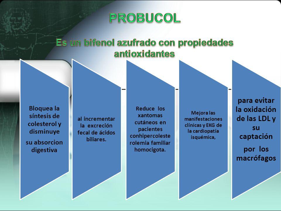 PROBUCOL Es un bifenol azufrado con propiedades antioxidantes