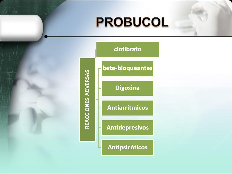 PROBUCOL REACCIONES ADVERSAS clofibrato beta-bloqueantes Digoxina