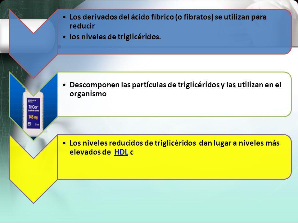 Los derivados del ácido fíbrico (o fibratos) se utilizan para reducir