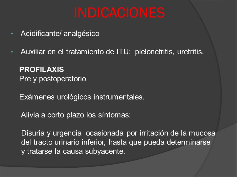 INDICACIONES Acidificante/ analgésico