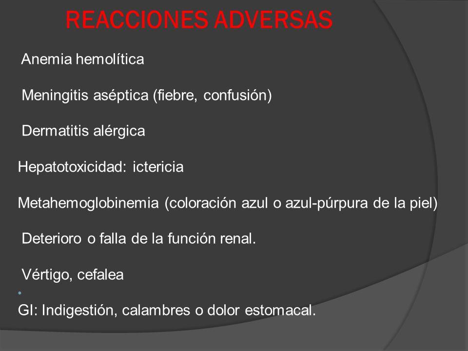 REACCIONES ADVERSAS Anemia hemolítica