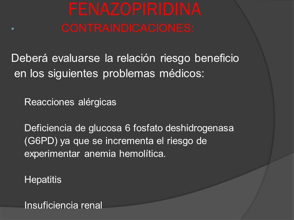 FENAZOPIRIDINA CONTRAINDICACIONES: