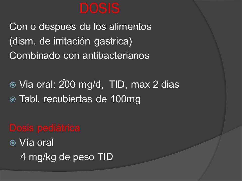 DOSIS Con o despues de los alimentos (dism. de irritación gastrica)