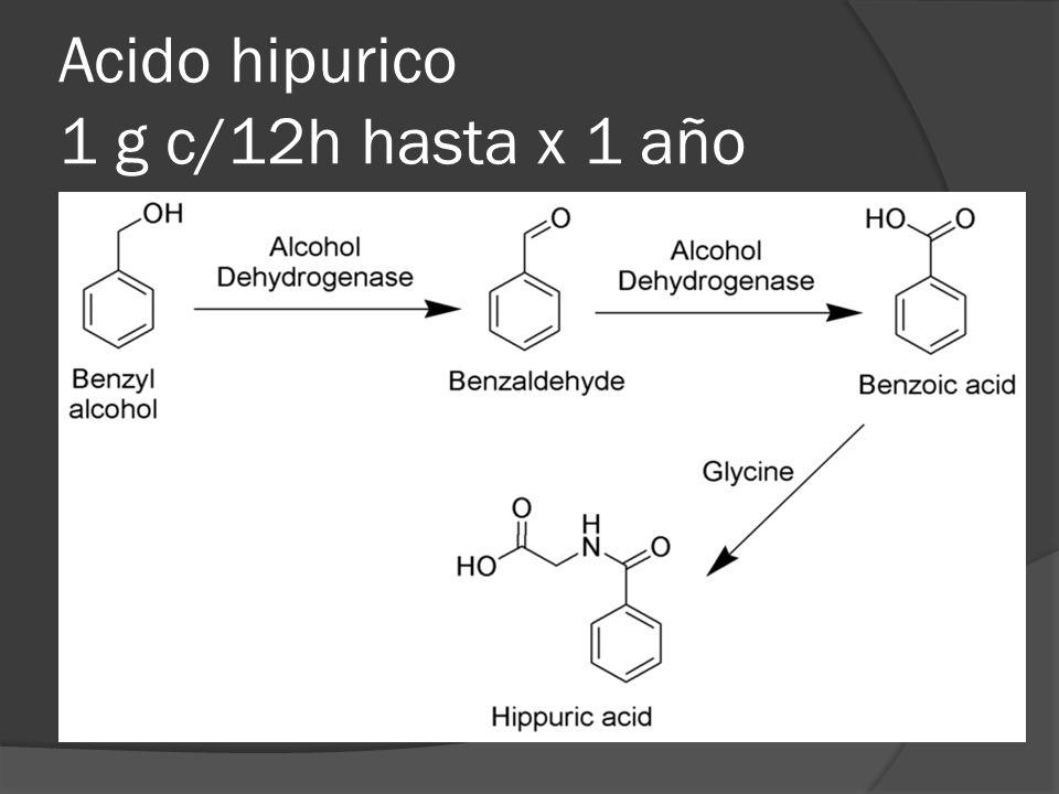 Acido hipurico 1 g c/12h hasta x 1 año