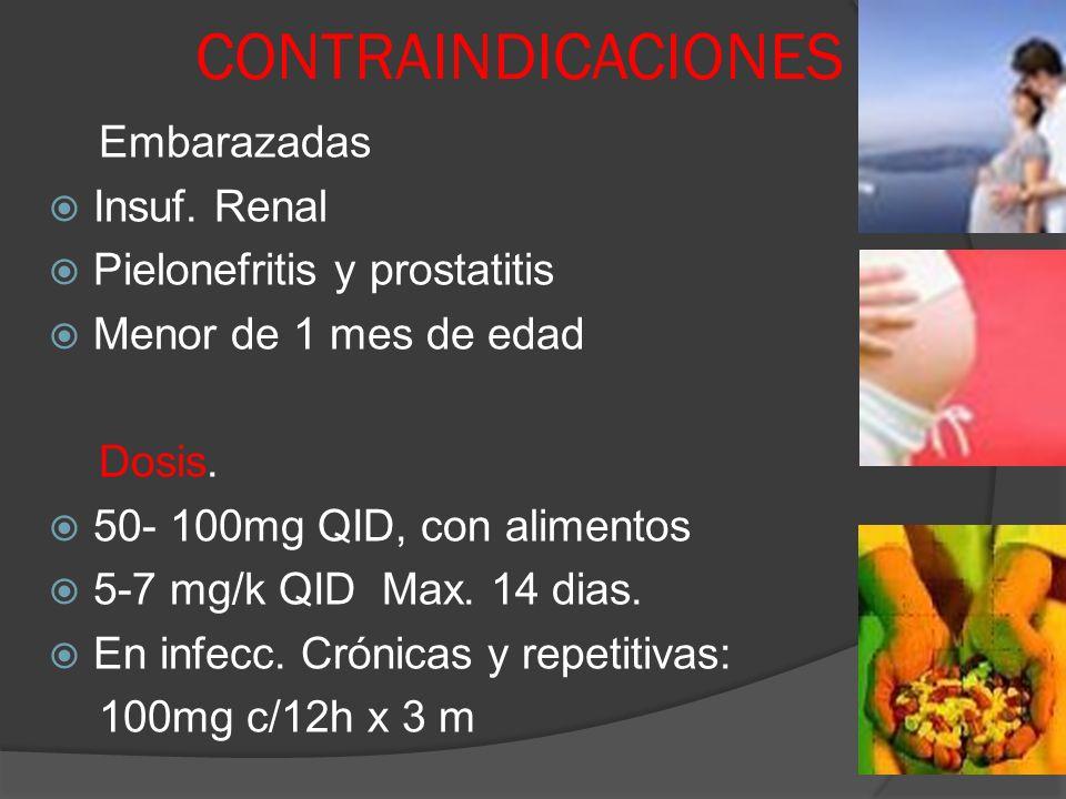 CONTRAINDICACIONES Embarazadas Insuf. Renal