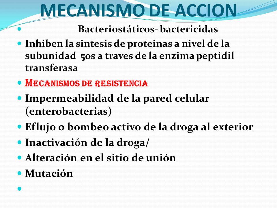 MECANISMO DE ACCION Mecanismos de resistencia