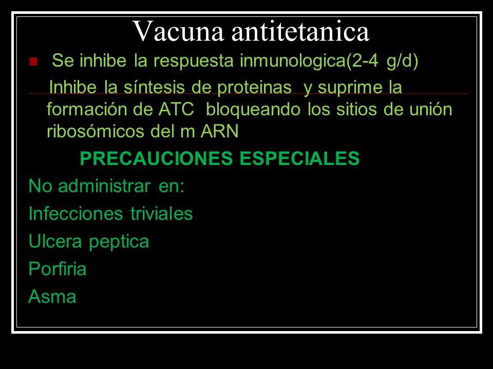 Vacuna antitetanica No administrar en: Infecciones triviales