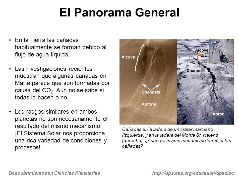 El Panorama General En la Tierra las cañadas habitualmente se forman debido al flujo de agua líquida.
