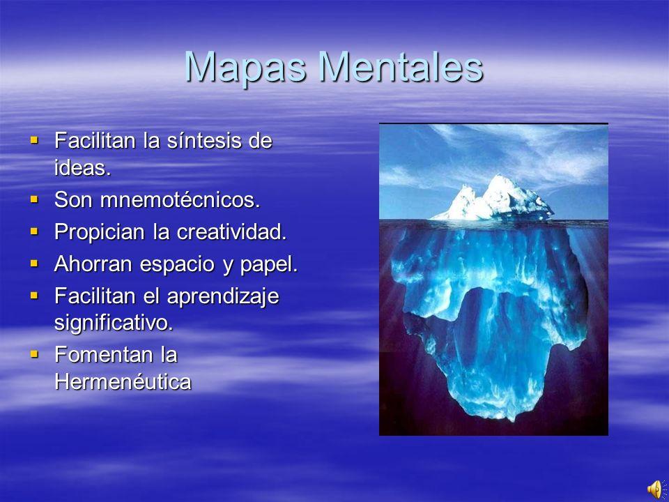 Mapas Mentales Facilitan la síntesis de ideas. Son mnemotécnicos.