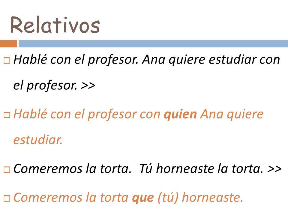 RelativosHablé con el profesor. Ana quiere estudiar con el profesor. >> Hablé con el profesor con quien Ana quiere estudiar.