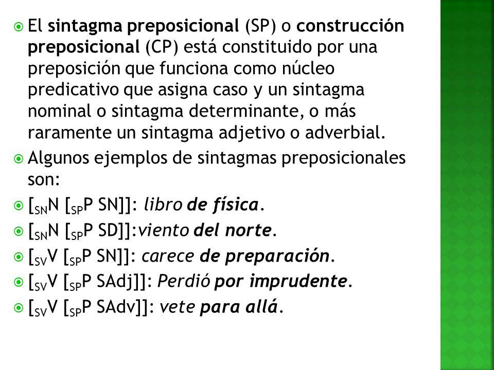 El sintagma preposicional (SP) o construcción preposicional (CP) está constituido por una preposición que funciona como núcleo predicativo que asigna caso y un sintagma nominal o sintagma determinante, o más raramente un sintagma adjetivo o adverbial.