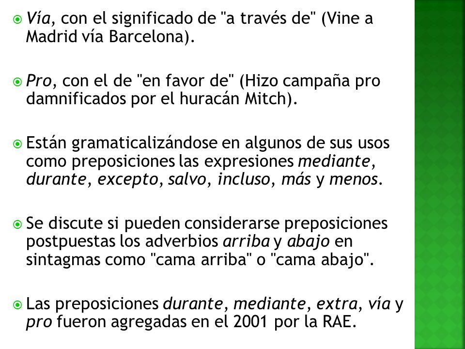 Vía, con el significado de a través de (Vine a Madrid vía Barcelona).