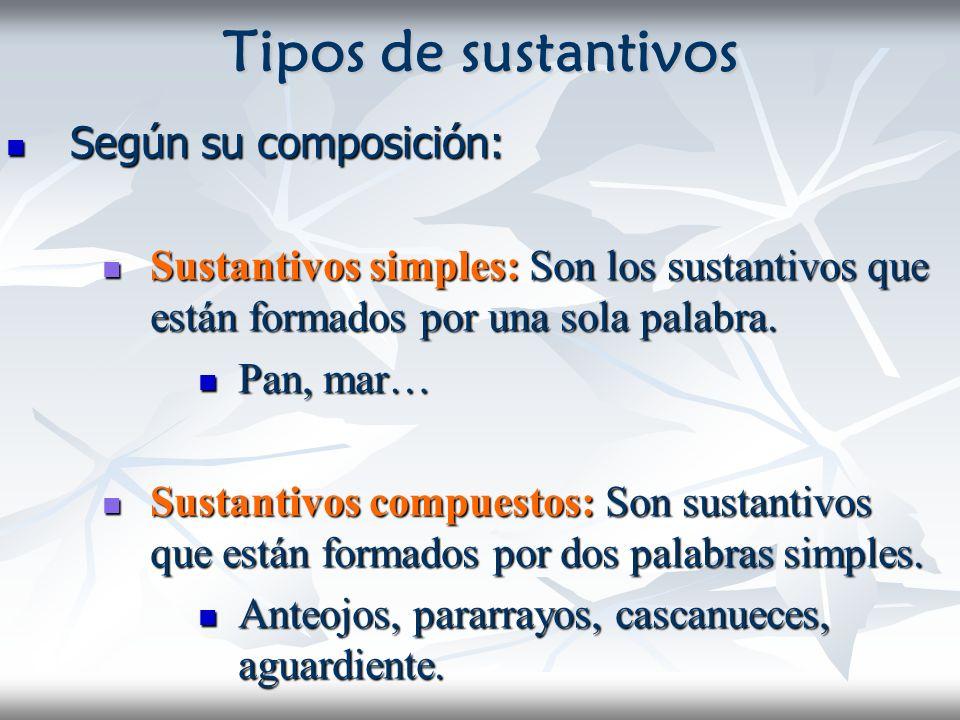 Tipos de sustantivos Según su composición: