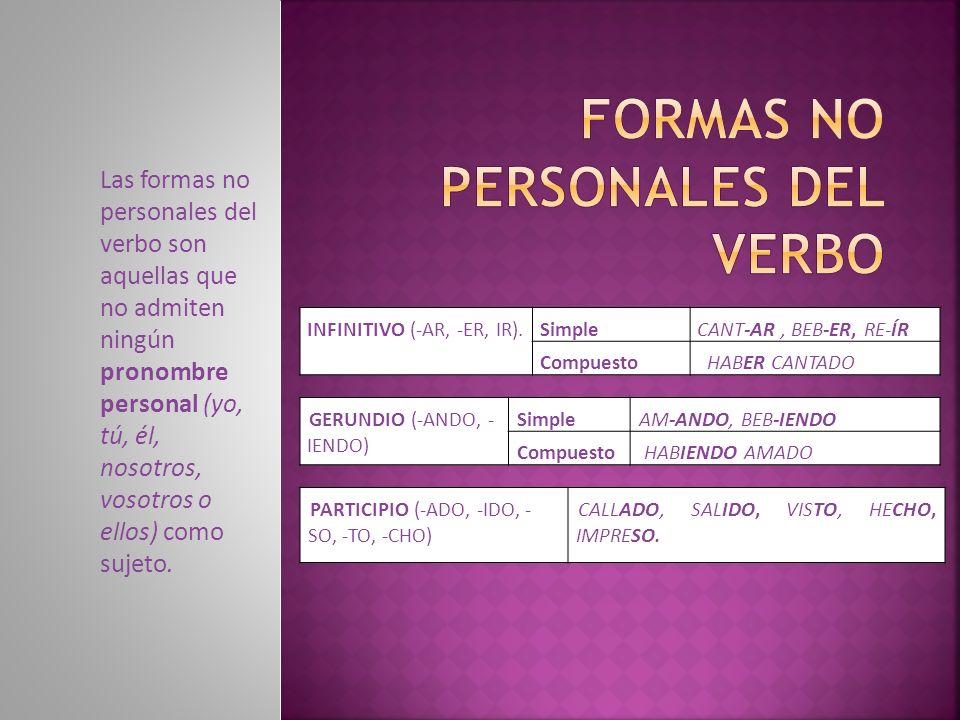 Formas no personales del verbo