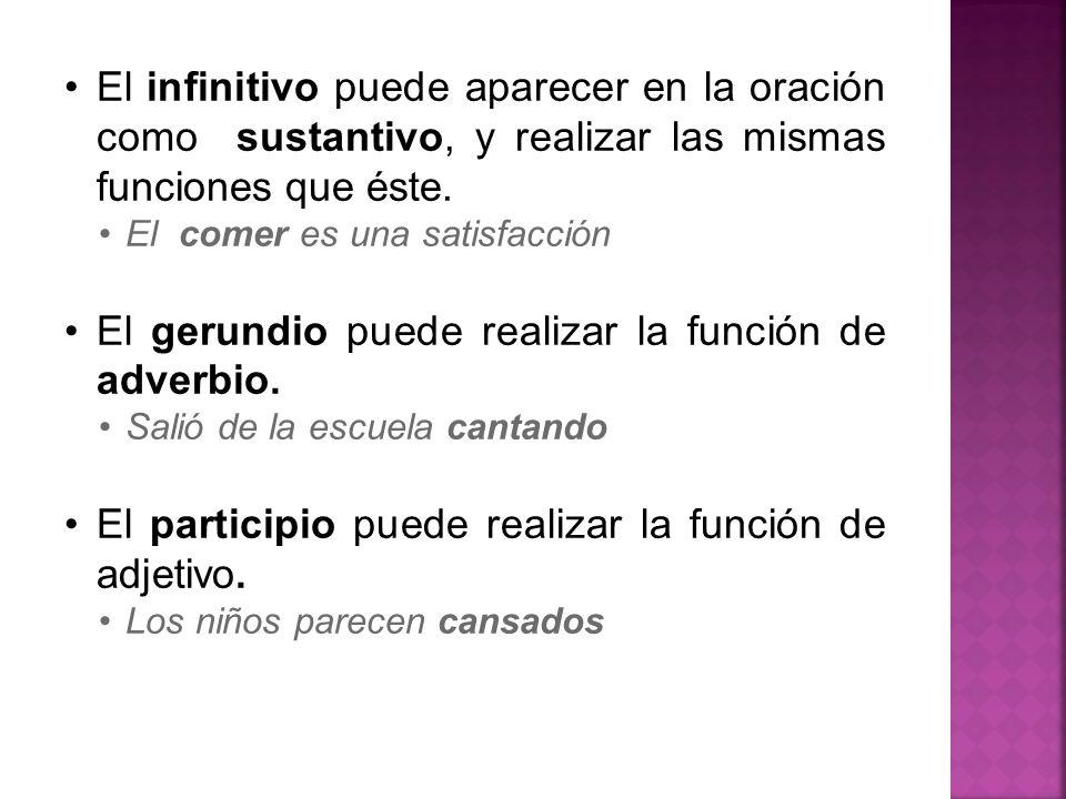 El gerundio puede realizar la función de adverbio.