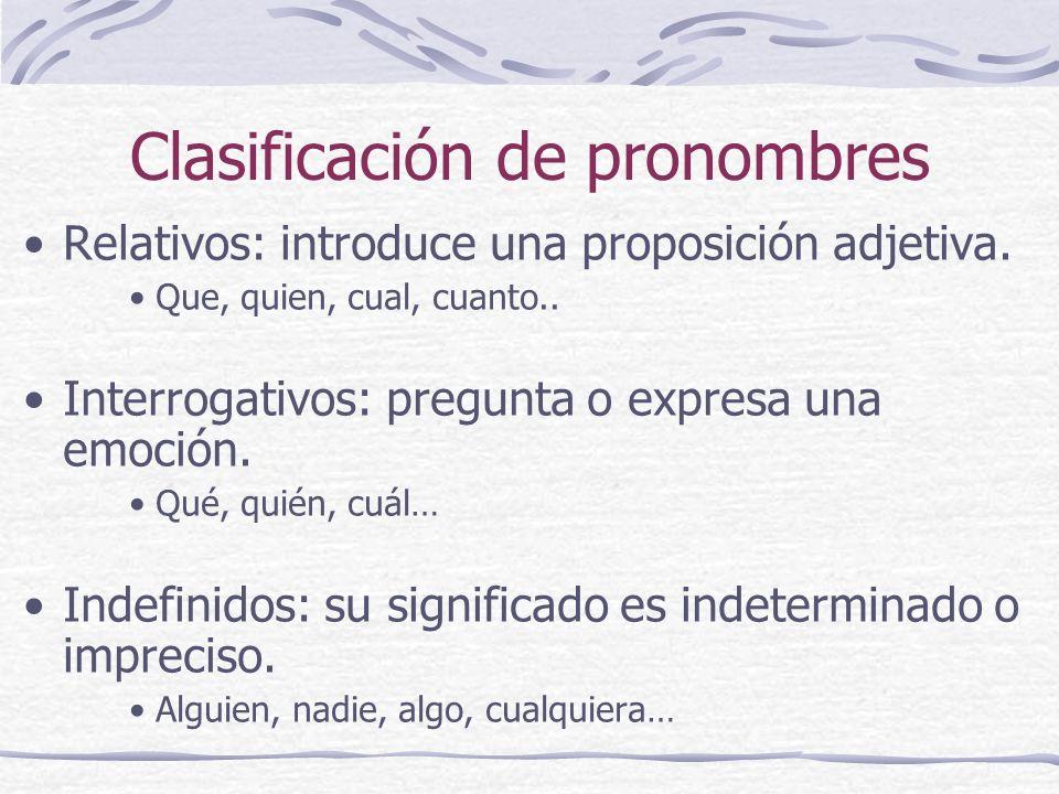 Clasificación de pronombres