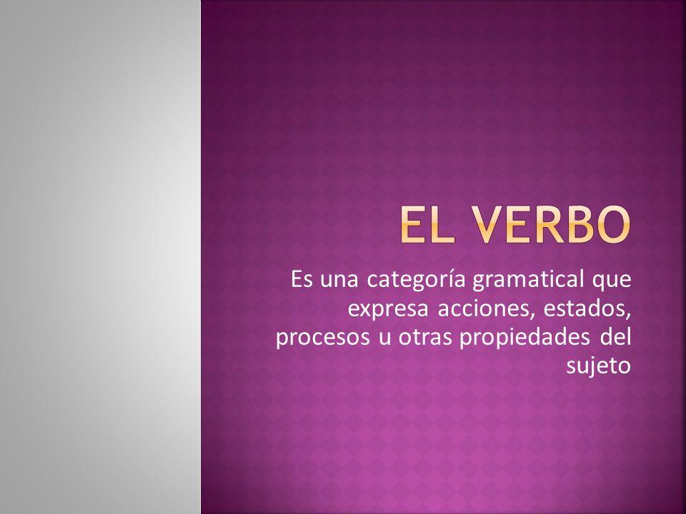El verbo Es una categoría gramatical que expresa acciones, estados, procesos u otras propiedades del sujeto.