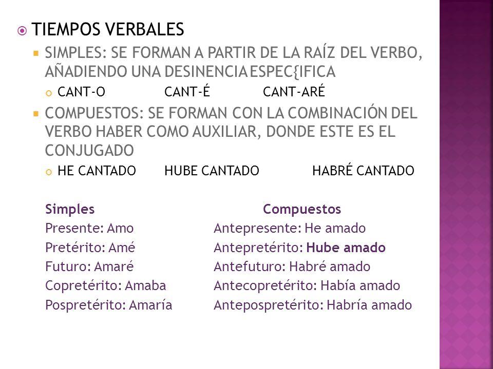 TIEMPOS VERBALES SIMPLES: SE FORMAN A PARTIR DE LA RAÍZ DEL VERBO, AÑADIENDO UNA DESINENCIA ESPEC{IFICA.