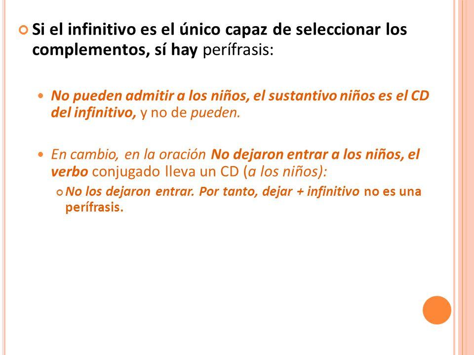 Si el infinitivo es el único capaz de seleccionar los complementos, sí hay perífrasis: