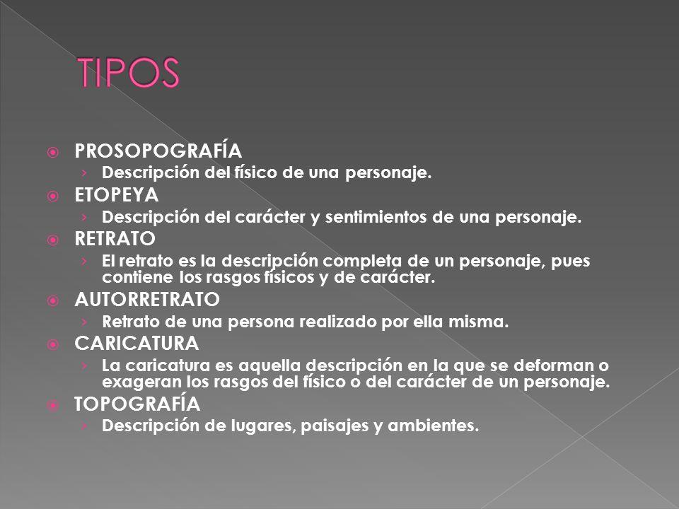 TIPOS PROSOPOGRAFÍA ETOPEYA RETRATO AUTORRETRATO CARICATURA TOPOGRAFÍA