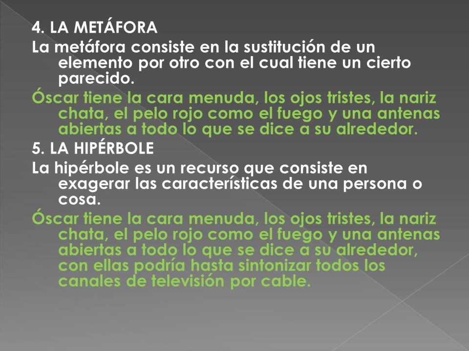 4. LA METÁFORA La metáfora consiste en la sustitución de un elemento por otro con el cual tiene un cierto parecido.