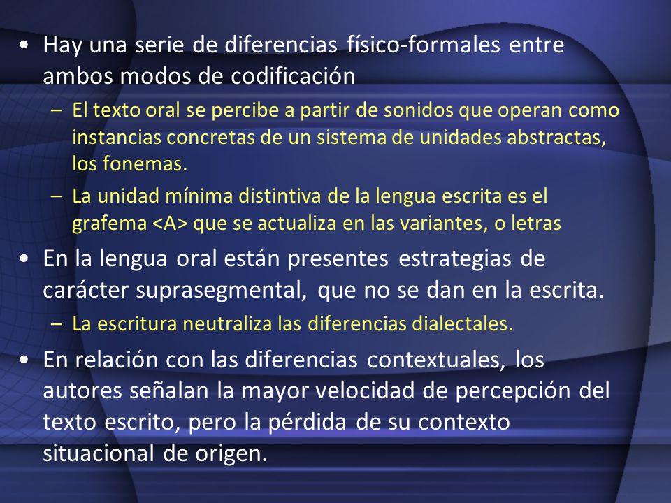 Hay una serie de diferencias físico-formales entre ambos modos de codificación