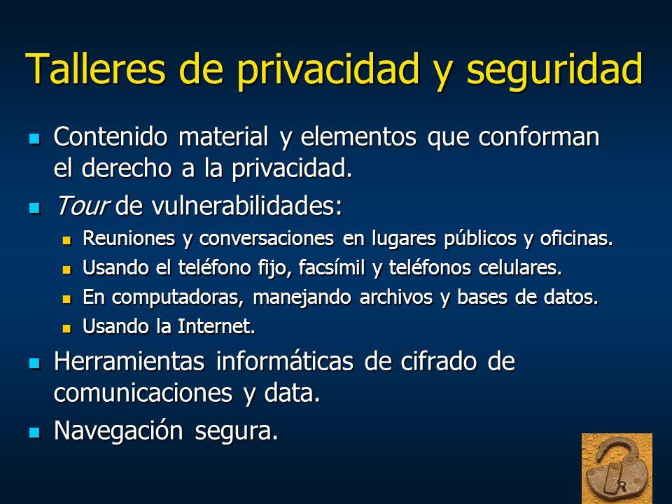 Talleres de privacidad y seguridad