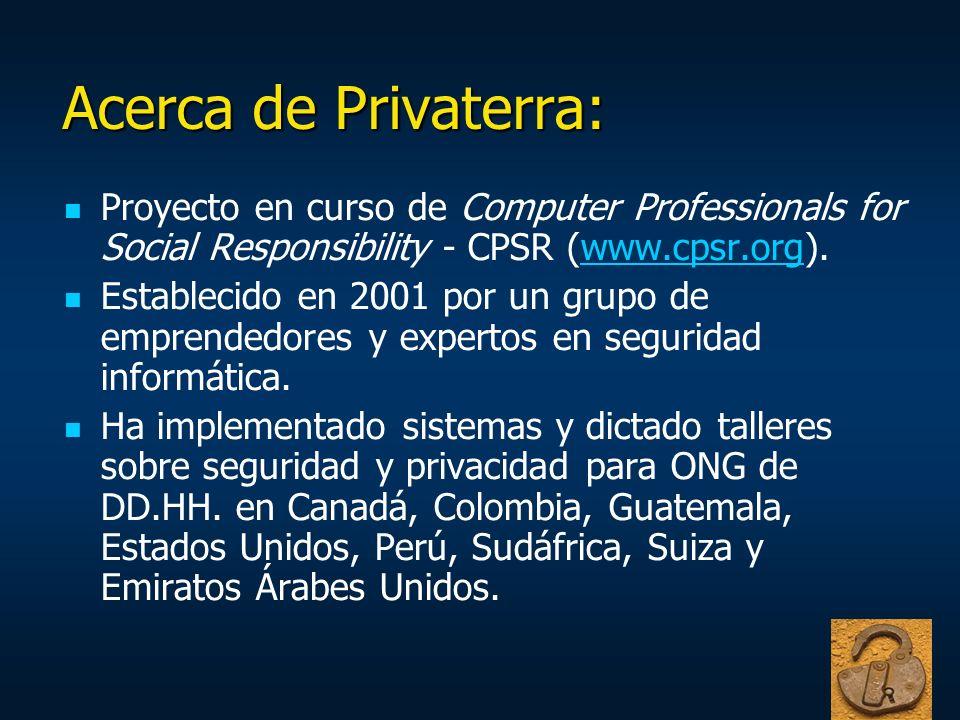 Acerca de Privaterra: Proyecto en curso de Computer Professionals for Social Responsibility - CPSR (www.cpsr.org).