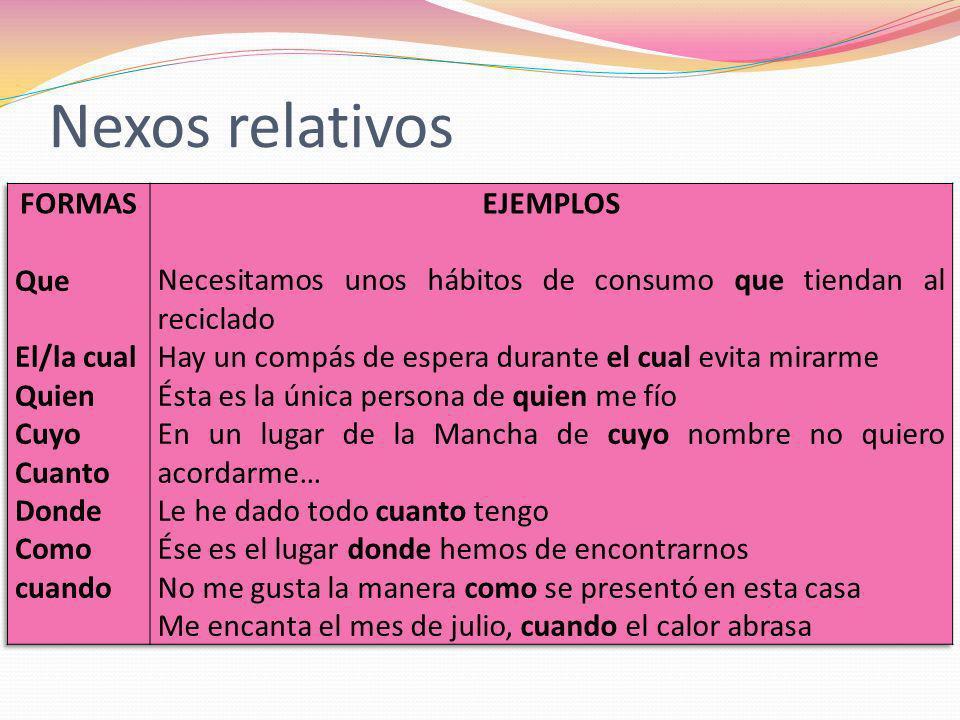 Nexos relativos FORMAS EJEMPLOS Que El/la cual Quien Cuyo Cuanto Donde