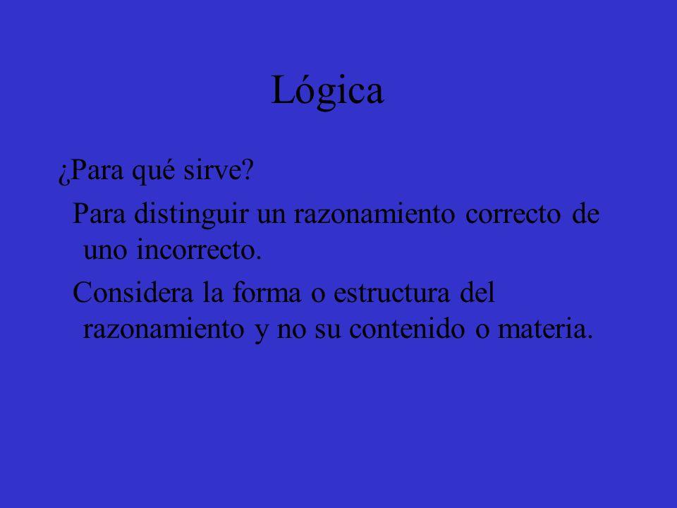 Lógica ¿Para qué sirve Para distinguir un razonamiento correcto de uno incorrecto.