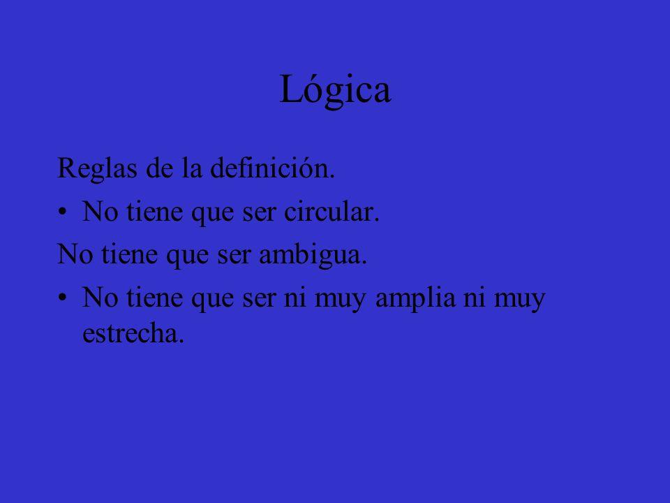 Lógica Reglas de la definición. No tiene que ser circular.