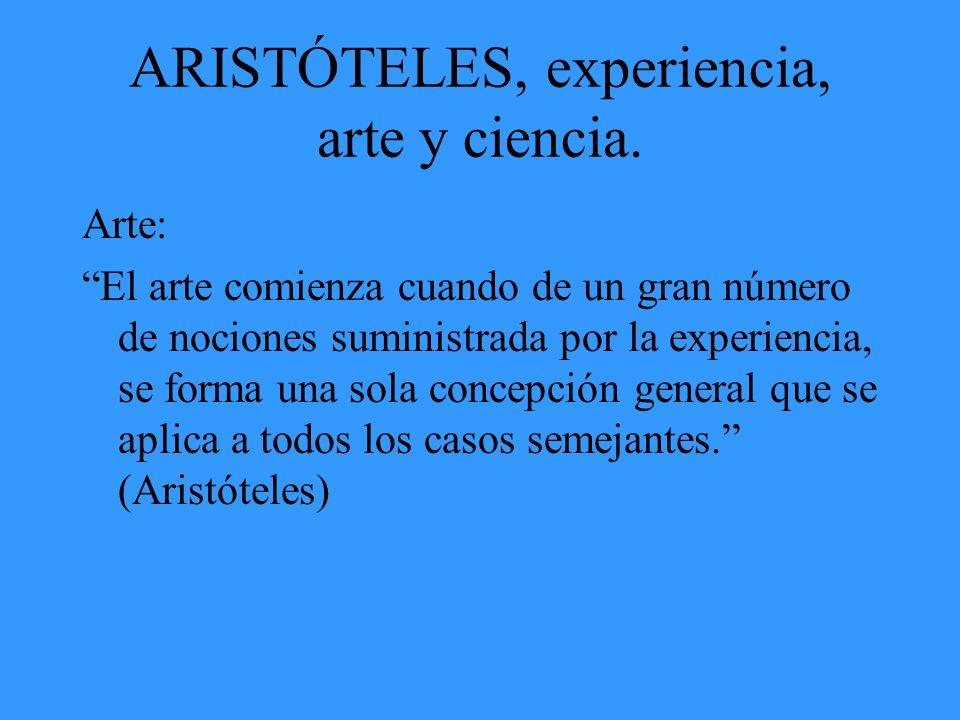 ARISTÓTELES, experiencia, arte y ciencia.