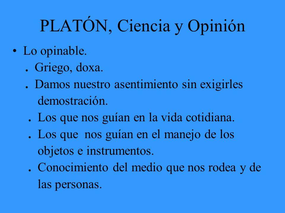 PLATÓN, Ciencia y Opinión